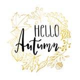 Illustration tirée par la main Guirlande avec des feuilles d'automne Forest Design Elements Bonjour automne illustration libre de droits
