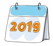 Illustration tirée par la main mignonne de vecteur d'art du calendrier 2019 Photo libre de droits