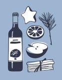 Illustration tirée par la main Oeuvre d'art créative d'encre Dessin réel de vecteur Ensemble de vin chaud, bouteille, orange, pom Photographie stock