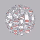 Illustration tirée par la main ronde de café et de bonbons Ensemble d'éléments de griffonnage de thé et de desserts illustration de vecteur