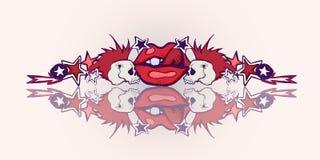 Illustration tirée par la main Thème de punk rock Crânes, lèvre rouge illustration stock