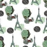 Illustration tirée par la main Tour Eiffel, rues de Paris Photographie stock