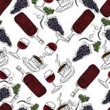 Illustration tirée par la main Vin rouge, verres de vin, raisins, coff Photographie stock