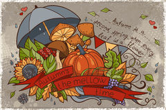Illustration to the autumn season of doodles and inscriptions painted by hand Royalty Free Stock Photos