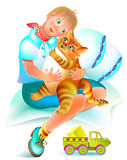 Illustration to the children`s tale. Good red cat treats the sick boy. Stock Image