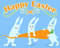 Illustration to the day of Easter, the three funny cartoon Easter Bunny carrying carrot and the words `Happy Easter`,on a blue bac Royalty Free Stock Photos