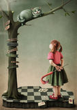 Illustration to the fairy tale Alice in Wonderland Stock Images