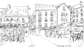 Illustration to the old town stock photos