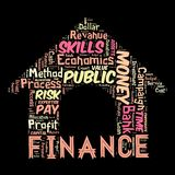 The Words cloud of the FINANCE. Illustration to  The Words cloud of the FINANCE as background Royalty Free Stock Images