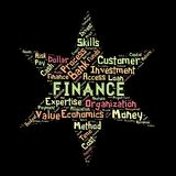 The Words cloud of the FINANCE. Illustration to  The Words cloud of the FINANCE as background Stock Images