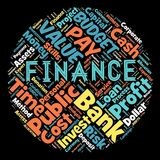 The words cloud of the FINANCE. Illustration to The words cloud of the FINANCE as background Royalty Free Stock Photo