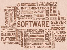 Words cloud of the SOFTWARE. Illustration to Words cloud of the SOFTWARE as background Royalty Free Stock Photos