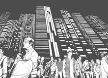 Illustration of urban crowd from low angle view with towers and high rises in background in black and white grey scale. Illustration of Tokyo street crowd at stock illustration