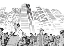 Illustration of urban crowd from low angle view with towers and high rises in background in black and white grey scale. Illustration of Tokyo street crowd at vector illustration