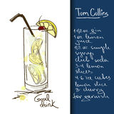 Illustration with Tom Collins cocktail. Illustration with hand drawn Tom Collins cocktail Royalty Free Stock Images