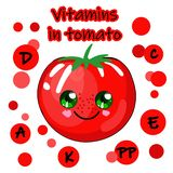 Illustration of a tomato on a white background.PICTURES FOR TRAINING KIDS VEGETABLES.Have an idea tomato character cartoon royalty free illustration