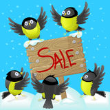 Illustration with tomtits and wooden banner, concept of holiday sales Royalty Free Stock Photography