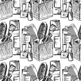 Illustration tools for beauty, makeup instruments. Female toilet. Seamless pattern. Royalty Free Stock Photos
