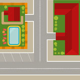 Illustration top view of the village Stock Image