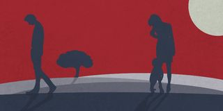 A family man leaves his family. vector illustration