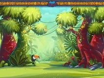 Illustration of a toucan jungle and Mayan writing Stock Photos