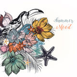 Illustration with toucan, magnolia flowers, starfishes and palm. Tropical illustration with toucan, magnolia flowers, starfishes and palm leafs. Summer mood Stock Images