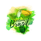 Illustration of toucan with palm leaves. Banner Welcome to Brazil.  Royalty Free Stock Photo