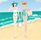 Illustration of tow girls walking at the beach. Tow woman chatting at the beach Royalty Free Stock Images