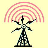 On this illustration a tower is radio royalty free illustration