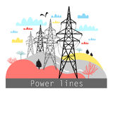 Illustration towers with power lines Stock Image