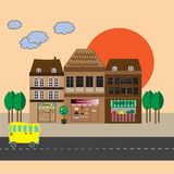 Illustration with townhouses, shopping malls, road and bus Royalty Free Stock Images