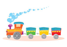 Illustration of toy train with hearts Stock Image