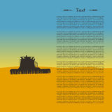 Illustration of tractor silhouette in the field. Landscape with wheat Royalty Free Stock Photography