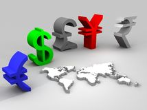 Illustration of trade currencies worldwide Stock Photos