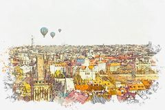 Illustration. Traditional ancient architecture in Prague.