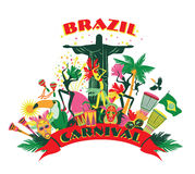 Illustration of traditional Brazilian Carnival. Royalty Free Stock Photo