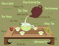 Chinese Tea Ceremony. Illustration of traditional chinese and japanese tea ceremony with teacups, teapot, creamer, wooden table on a green background. Stylish Royalty Free Stock Images