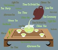 Chinese Tea Cerenony on a Grey Background. Illustration of traditional chinese and japanese tea ceremony with teacups, teapot, creamer, wooden table on a grey Stock Photo