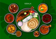 Traditional Keralite cuisine and food meal thali of Kerala. Illustration of Traditional Keralite cuisine and food meal thali of Kerala India royalty free illustration