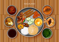 Traditional Naga cuisine and food meal thali of Nagaland. Illustration of Traditional Naga cuisine and food meal thali of Nagaland India Royalty Free Stock Photography