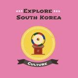 Illustration traditionnelle coréenne de vecteur de tambour Images stock