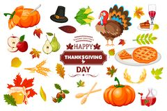 Illustration traditionnelle de vecteur de célébration de récolte de nourriture de vacances de potiron d'automne d'icônes de thank illustration stock