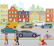 City traffic and pedestrians Stock Image