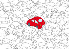 Illustration of traffic jam  Royalty Free Stock Photography