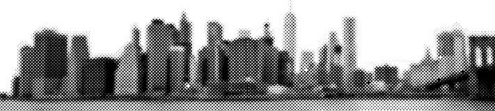 Illustration tramée de vecteur de panorama d'horizon de Manhattan de vue large de l'East River Images stock