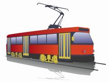 Illustration of tram. vector drawing royalty free stock image