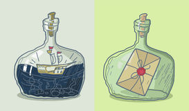 Illustration. Transparent glass bottles with the ship and the message. stock illustration