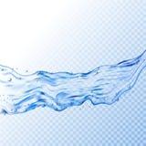 Illustration transparente d'éclaboussure de l'eau Fond bleu de liquide d'aqua de vecteur Boisson propre et eau douce illustration stock