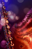 Illustration transverse flute with black red and blue background. Conceptual illustration transverse flute with flying notes, brightness and black red and blue Royalty Free Stock Image