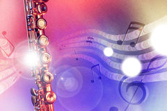 Illustration transverse flute with red and blue lights horizonta. Conceptual illustration transverse flute with flying notes, brightness and red and blue lights Royalty Free Stock Image